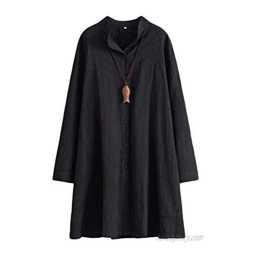Tebreux Women's Linen Shirt Dress Casual Button Down Shirts Jacket Long Sleeve Blouse Top