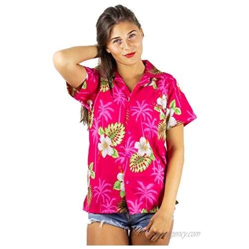 V.H.O. Funky Hawaiian Shirt Blouse Women Shortsleeve Frontpocket Hawaiian-Print Leaves Flowers Allover Unisex