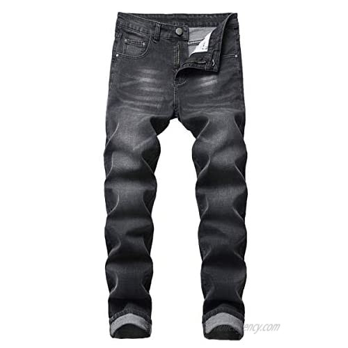 Cloudstyle Mens Casual Stretch Washed Jeans Modern Comfy Straight Fit Cotton Denim Pants