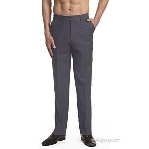 CONCITOR Men's Dress Pants Trousers Flat Front Slacks Solid CHARCOAL GRAY Color