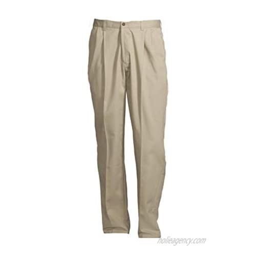 G M George Men's Wrinkle Resistant Pleated 100% Cotton Twill Pant with Scotchgard Size 42x32 Beige