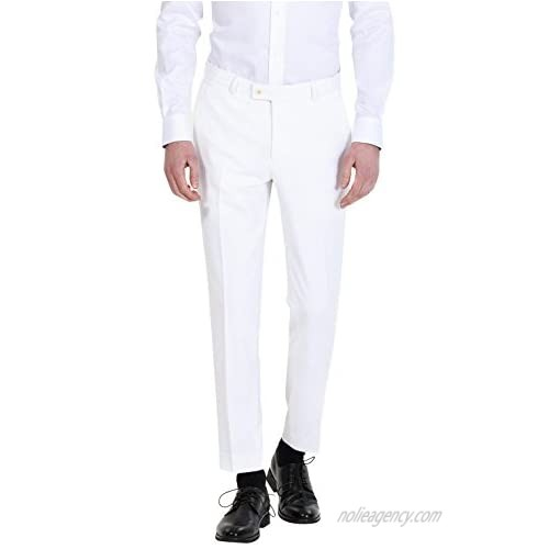 HBDesign Mens Formal Slim Fit Flat Front Straight Iron Free Trousers White 32W30L