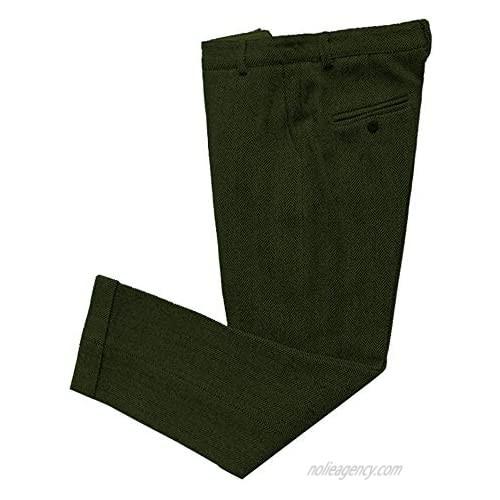 LoveeTux Mens Dress Pants Regular fit Herringbone Trousers Tweed Suits Pants with Hidden Expandable Waist Wedding Mens Pants