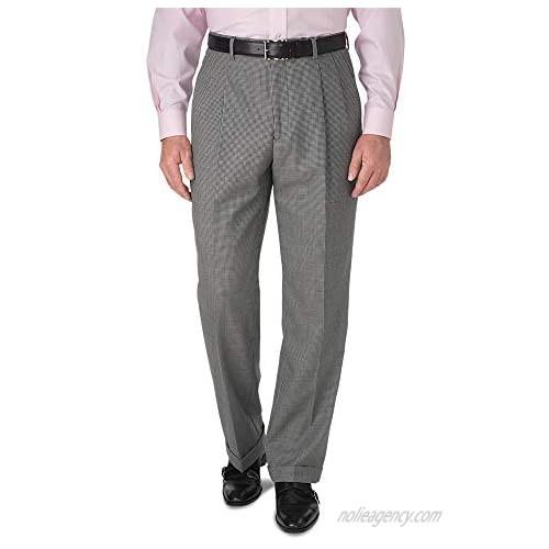 Paul Fredrick Men's Wool Houndstooth Pleated Suit Pant