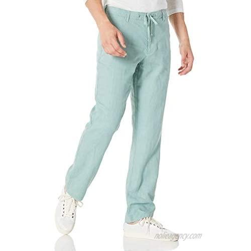 Ross&Freckle Men's 100% Linen Drawstring Pants Men's Casual Pants Easy Pure Color Straight Black Trousers