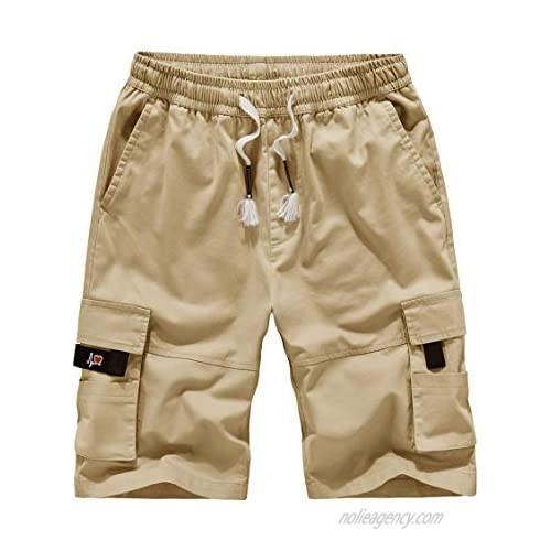 MAKEIIT Mens Cargo Shorts for Men Drawstring Shorts Men Casual Shorts Lounge Shorts Men