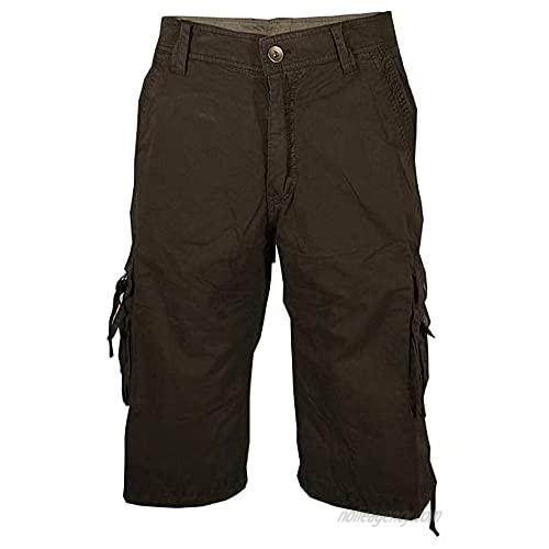 Medbyliv Men's Workwear Shorts Casual Pants Straight Leg Pants-A082-Coffee1 36