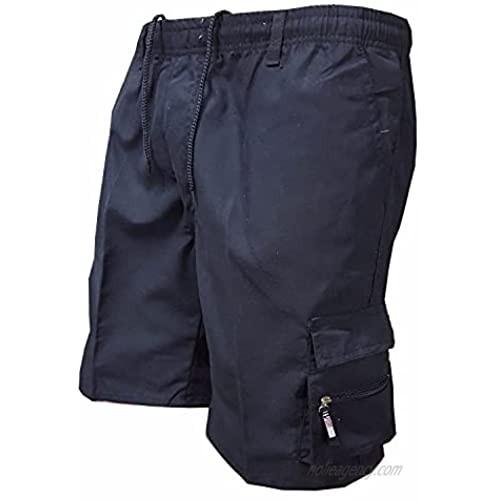 Men's Elastic Waist Drawstring Casual Outdoor Short Cotton Long Cargo Shorts Multi Pockets Durable Baggy Work Short-pant (Navy Blue Small)