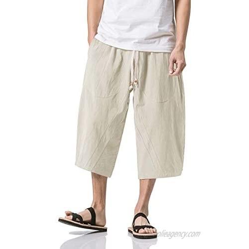 BIYLACLESEN Men's Casual Pants with Pockets Loose Fit Cotton Linen Joggers 3/4 Summer Beach Shorts