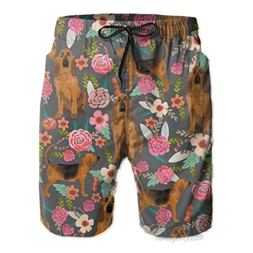 Men's Swim Trunks  Bloodhound Dog Fabric Dogs and Florals Quick-Dry Swim Trunk  Mens Swim Shorts with Mesh Lining