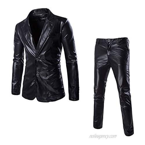 VSVO Men's Metallic 2-Piece Suit Slim Fit Blazer Jacket Pants Party Prom Set