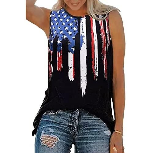 BOMYTAO American Flag Tank Tops for Women 4th of July Stars Stripes Graphic Tees US Flag Patriotic Sleeveless Tank Shirt
