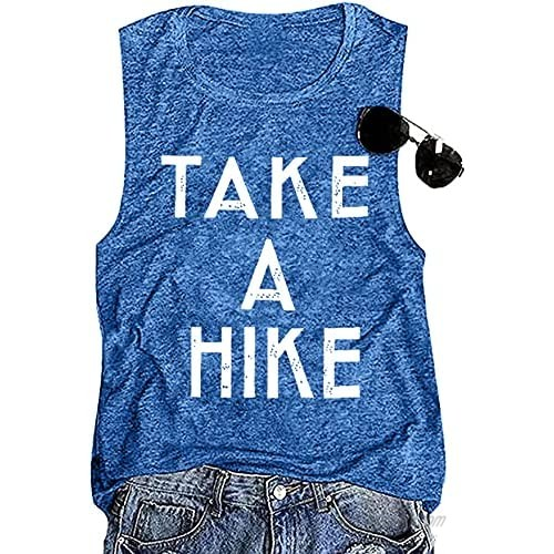 FAYALEQ Take A Hike Tank Tops Women Letter Print Vacation Camping Shirts Summer Casual Sleeveless Vest T-Shirt