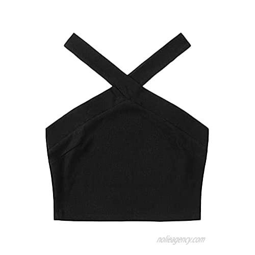 Floerns Women's Casual Striped Criss Cross Sleeveless Rib Knit Halter Crop Tops