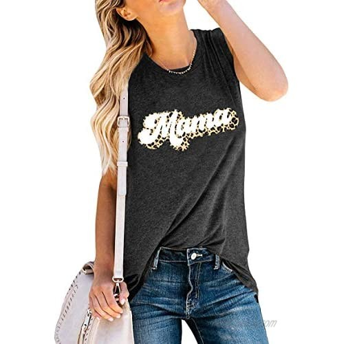Mama Tank Tops Women Sleeveless T-Shirt Leopard Print Graphic Tees Tops Summer Mother's Day Casual Blouse