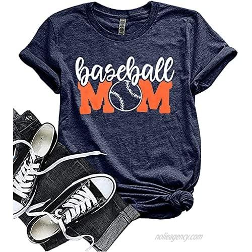 Baseball Mom Shirt Womens Mom Shirt Short Sleeve O-Neck Letter Print Casual Tops Tees