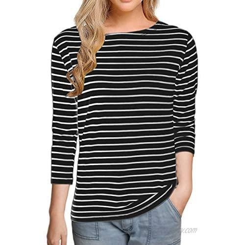Remidoo Women Boat Neck Striped T-Shirt Short Sleeve / 3/4 Sleeve/Long Sleeve Tees Slim Fit Blouses Tops