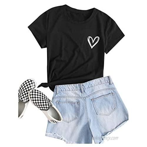 SweatyRocks Women's Heart Print T Shirts Summer Funny Short Sleeve Tops for Teen Girl