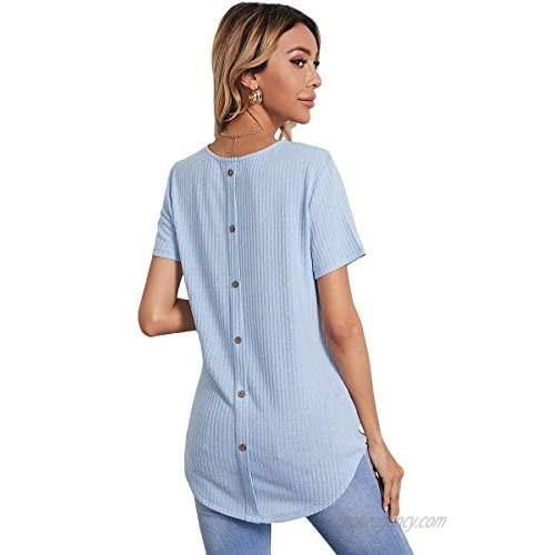 Romwe Women's Casual Button Back T Shirt Short Sleeve Corved Hem Tunic Tops Tee