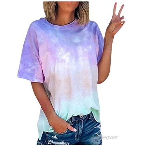 FarJing Women's T Shirt Summer V Neck Tie-Dye Leopard Patchwork Short Sleeve Tops Casual Loose Tunic Tee Blouse