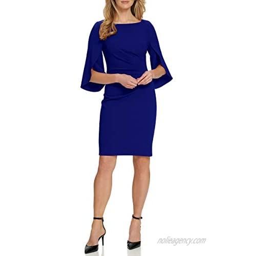 DKNY Women's Open Sleeve Ruched Sheath Dress