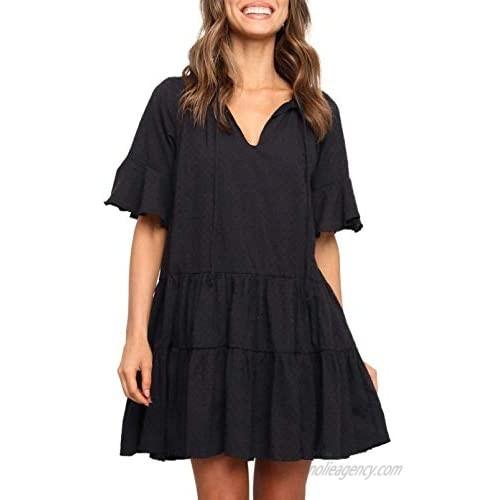 Dokotoo Women's Summer V Neck Babydoll Dress Casual Loose Ruffles Swing Shift Mini Tunic Dresses