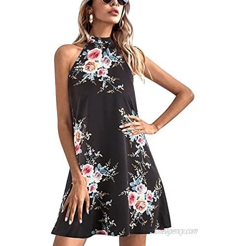 BUOYDM Women's Sexy Dress Beach Dresses Sleeveless Halter Neck Leopard Print Mini Dresses