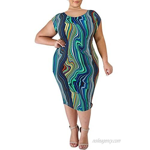 lexiart Plus Size Dresses for Women - Sexy Stretchy Plus Size Bodycon Pencil Long Dress for Causal Party 1X-5X