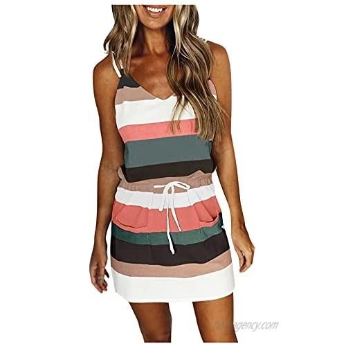 Women's Summer Striped Sleeveless Shirt Dress V Neck Casual Drawstring Sheath Mini Dresses